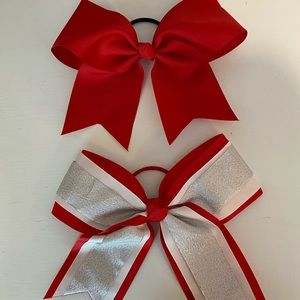 Red and silver cheer bow set